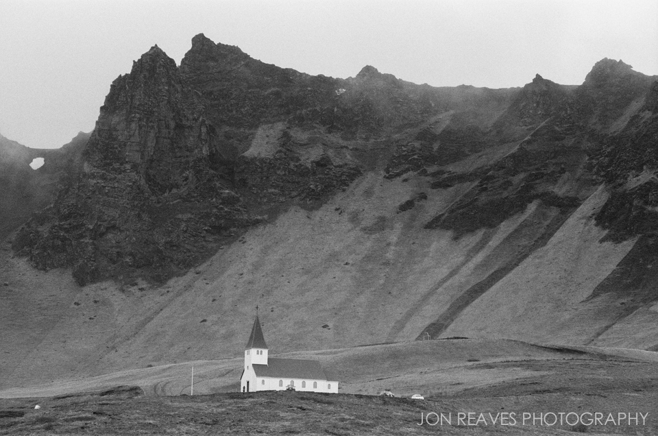 Church and High Cliffs, Vik. Ilford HP5+