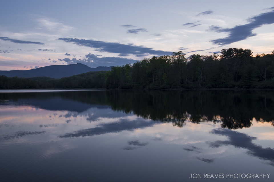 Sunset and view of Grandfather Mountain from Price Lake, North Carolina