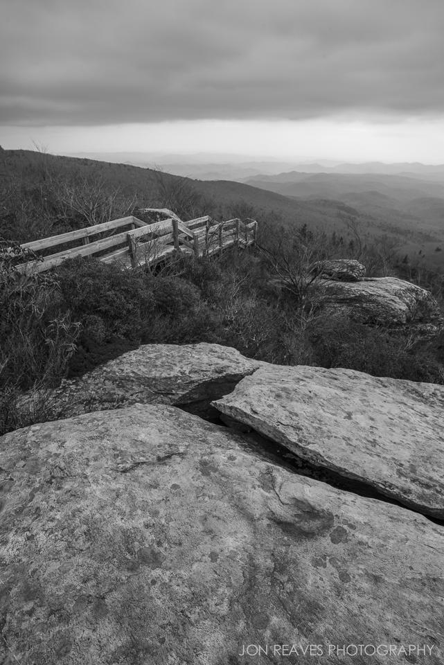 View of the boardwalk along the Tanawha Trail to Rough Ridge, Blue Ridge Parkway, North Carolina.