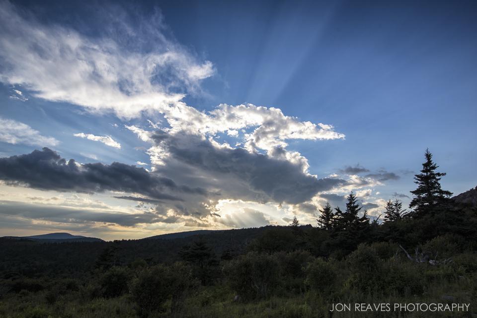Sunburst near sunset in Grayson Highlands State Park, Virginia.