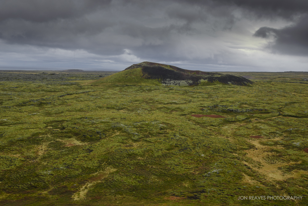 Crater and mossy lava fields, Snaefellsness Peninsula