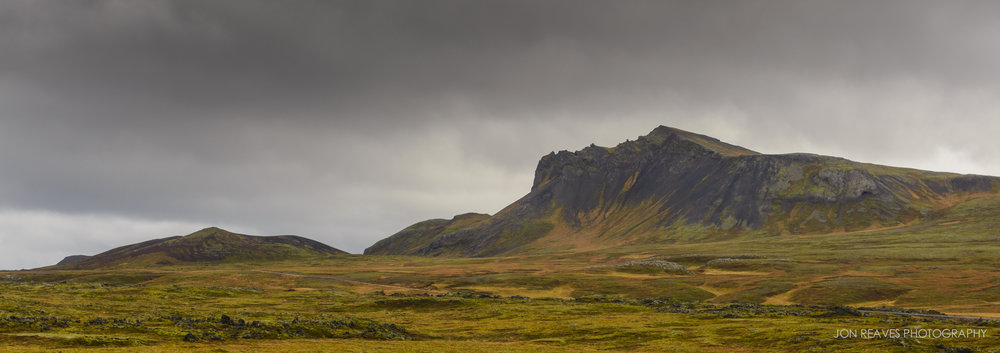 Autumn color on mountains and lava fields, Snaefellsness Peninsula
