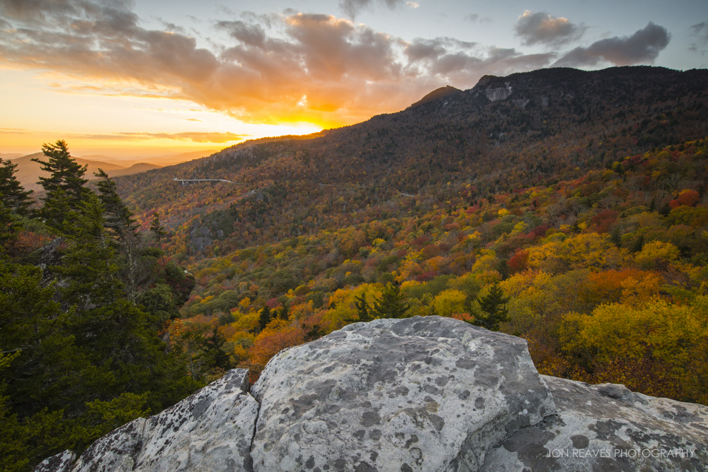 Autumn Color at Sunset on Grandfather Mountain, Blue Ridge Parkway, North Carolina. (Nikon D600, 18-35G @ 18mm, Gitzo tripod, Polarizer & 3-stop Graduated ND, f13, ISO 200, 1/6 sec)