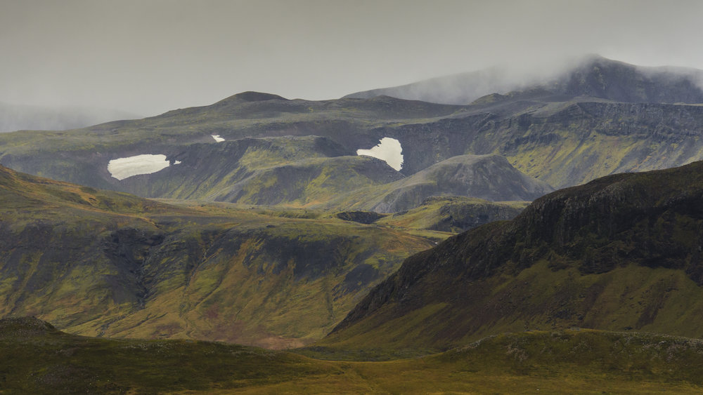 Mountains and Pockets of Snow, Snaefellsness Peninsula