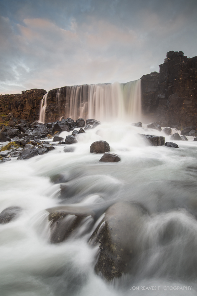 Öxarárfoss, Thingvellir National Park, Iceland. Nikon D600, Nikkor 18-35G, Nisi V5 Polarizer/Lee 3-stop ND, Sirui T-025X Carbon Fiber Tripod with C-10 Ball Head