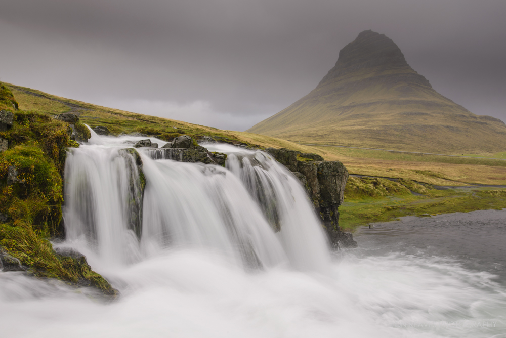 Cloudy Skies at Kirkjufellsfoss, Snaefellsness Peninsula, Iceland. (Nikon D600, 18-35G, Sirui T-025x Carbon Fiber Tripod w/ C-10 Ball Head, 26mm, f14, 1/4 sec, ISO 80)