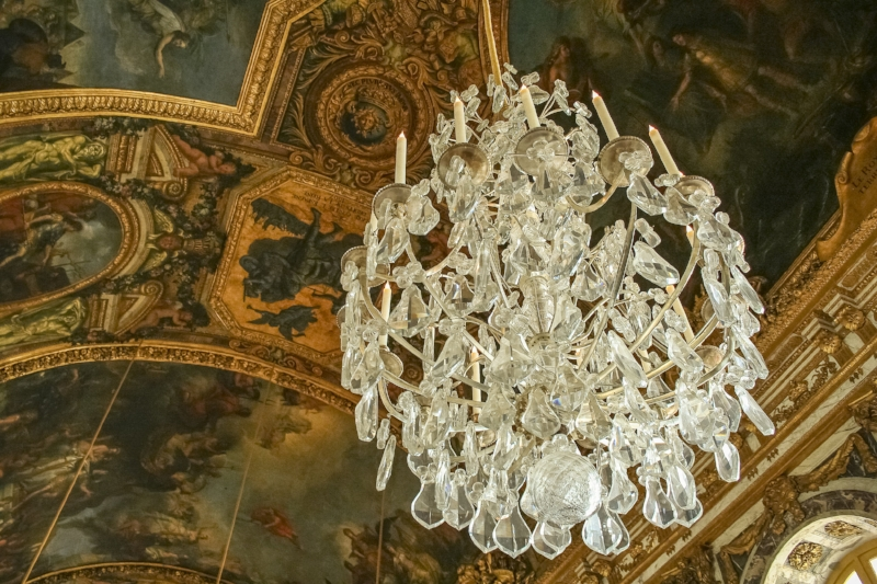 One of the many ceiling paintings and chandeliers at Versailles Palace, France, 2008. The galleries and museums of France probably had a lot to do with me being inspired to become a photographer.