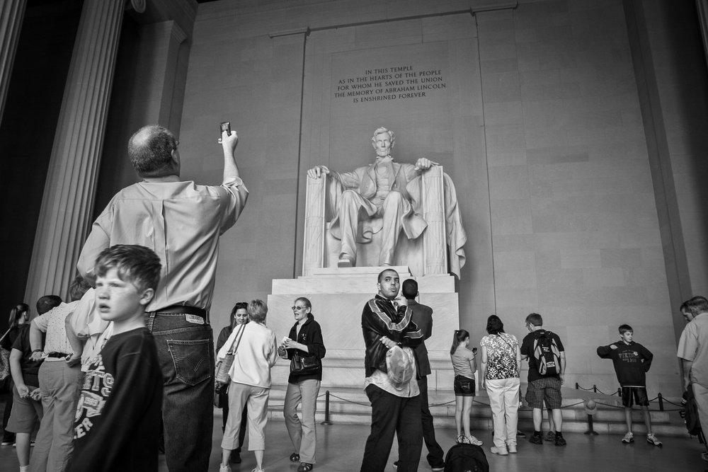 Tourists at the Lincoln Memorial, Washington, DC (2011)