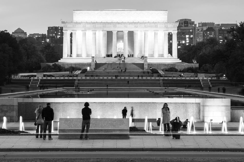Tourists at the Lincoln Memorial at night, Washington, DC (2011)