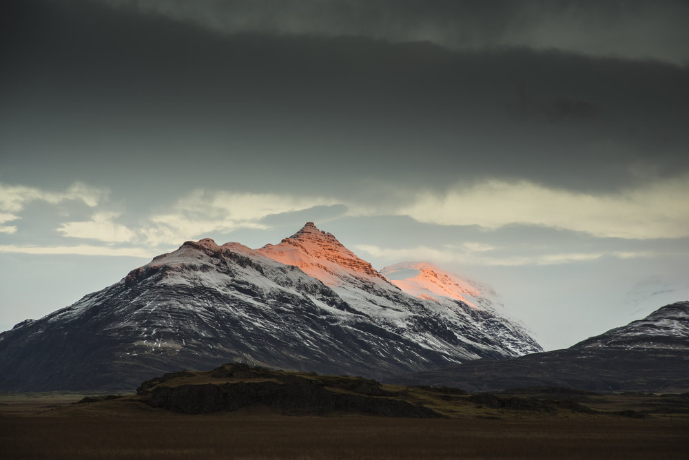 Sunrise on mountains, East Iceland