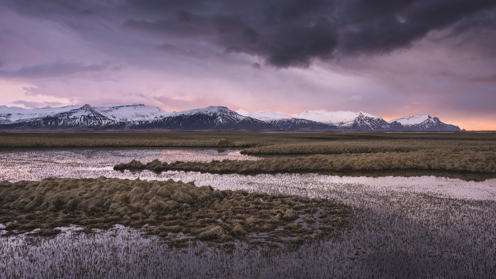 Sunrise over mountains and wetland, East Iceland