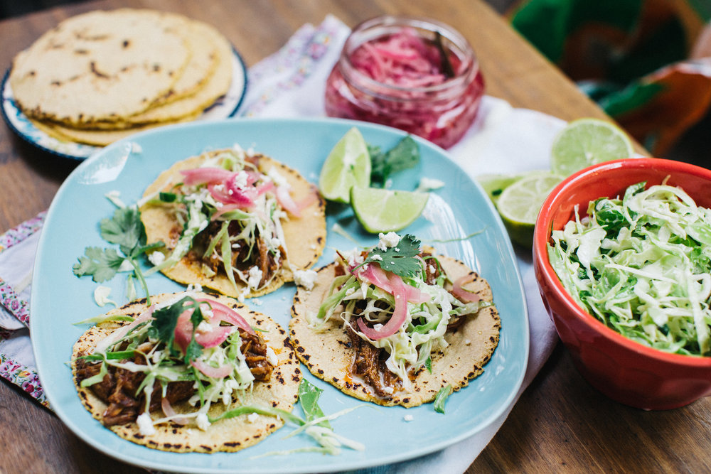 Carnitas tacos - honeysuckle
