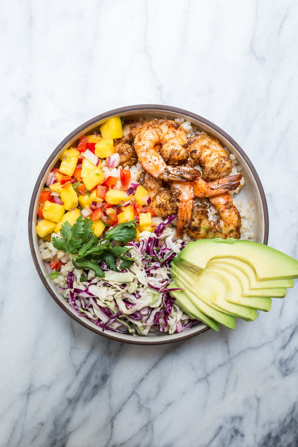 Shrimp taco bowl - honeysuckle