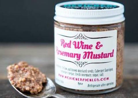 Red Wine & Rosemary  Yellow and brown mustard seeds are steeped in merlot and red wine vinegar, with fresh rosemary adding a distinctive herbal note.