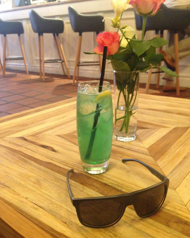 Hey it's been a while here's my drink & my cheap shades. I threw the others at Phil but Zoe rescued them cheers pal. I don't really remember how to do this. The drink was minty. Thanks.