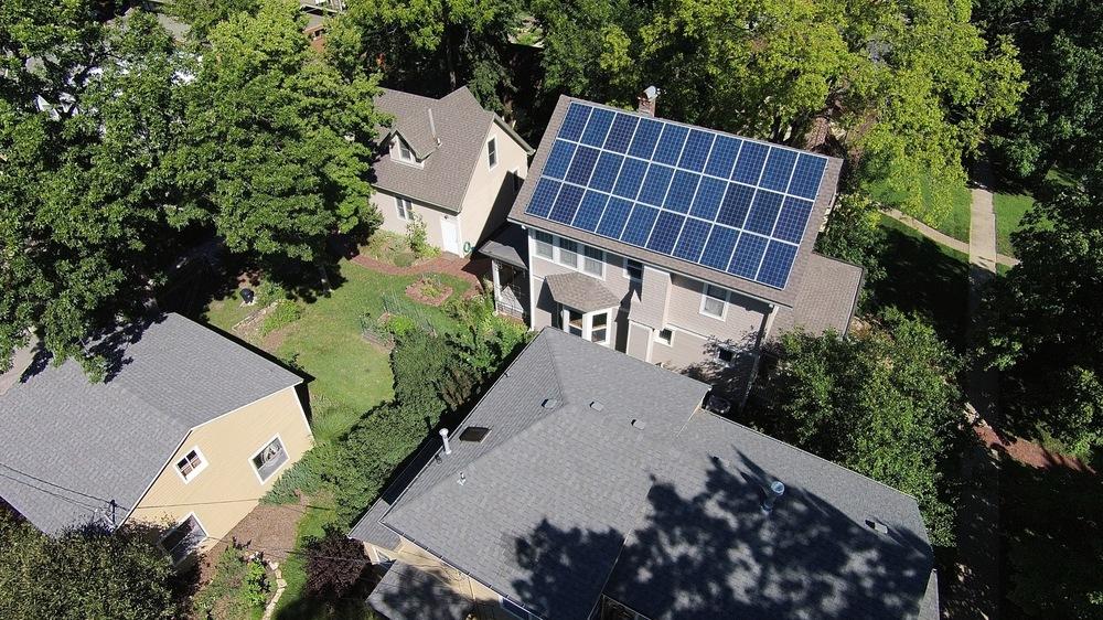 A 30-panel home solar array.