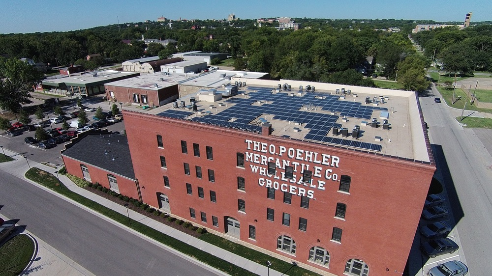 Poehler Lofts solar array in Lawrence, KS © 2015 Cromwell Environmental