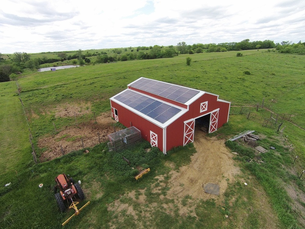 Solar array on a barn © 2015 Cromwell Environmental