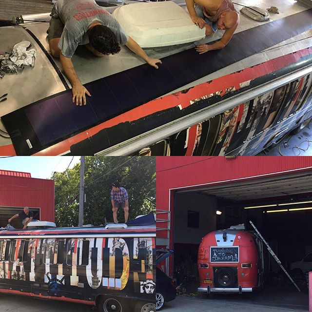 We enjoyed a visit from the #gratitudebus and the opportunity to assist in installing some thin-film solar on the roof of the bus. If you haven't heard of @thegratitudebus check them out! #gratitude #grattitudebus #solarbus