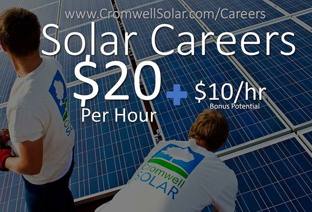 We have 20 openings in our solar division to fill a long term contract to install a TON of solar on housing at Kansas military bases (we start with the largest install in KS...). These projects have additional pay which amounts to $20 hr. Performance bonuses are available adding up to $10/hr more. No experience necessary. A great opportunity to get trained in a growing industry!  We must start by Feb. 12, 2018 so we will fill these positions quickly.  More Information on the job and how to apply at: http://www.cromwellsolar.com/careers/  To apply send resume and cover letter to: Sarah Cromwell, President Cromwell Environmental:  SCromwell@CromwellEnv.com  Equal Opportunity Employer