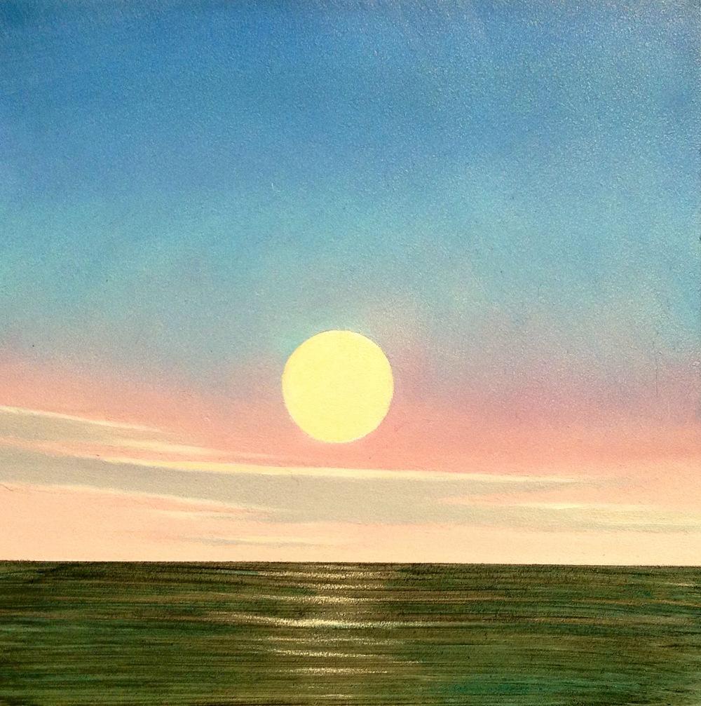 Water Green, Yellow Moon - $175