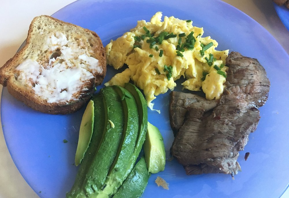 My next favorite is this recipe for chive scrambled eggs.  Its so easy and can be paired with leftover steak and avocado like I had, or just on its own.  It is super flavorful unlike some recipes for scrambled eggs.  I actually used to HATE scrambled eggs, but now I could eat these every week.