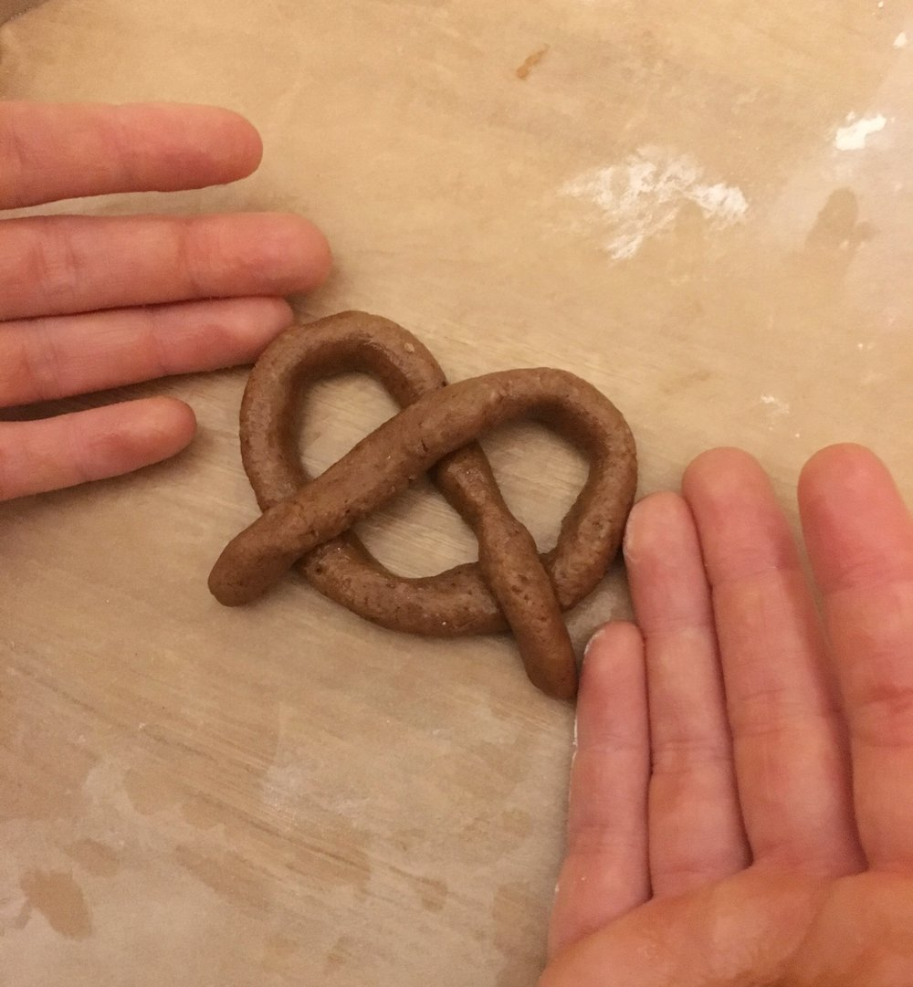In honor of Germany we used the leftover dough to make a gingerbread pretzel lol