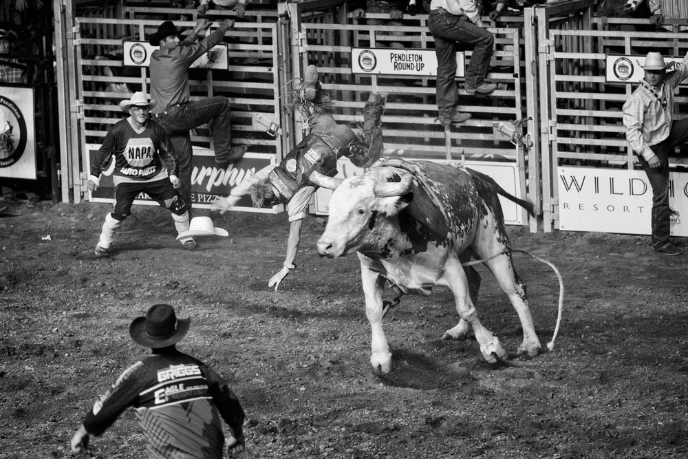 "Bull riding, sometimes called ""the most dangerous eight seconds in sports,"" is a rodeo event whereby a cowboy attempts to ride a bull without being bucked off. A ride only qualifies if the cowboy remains mounted for 8 seconds."