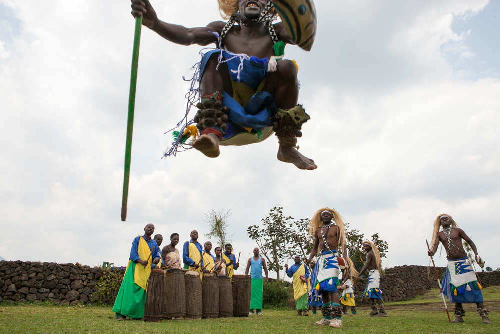 A villager dances at the Iby'iwacu Cultural Village outside of Rwanda's Volcanoes National Park.