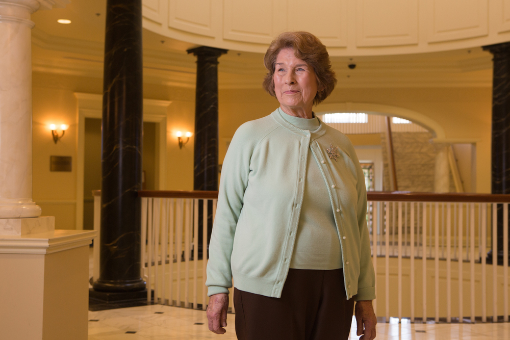 On January 16, 2015, Jannette Wundrow poses for a portrait in the Lowe Office Building in Annapolis, Maryland (United States of America). Jannette, a retired public school teacher, lobbies for Maryland's pension fund and supports other issues important to Maryland residents by volunteering as an AARP legislative advocate.