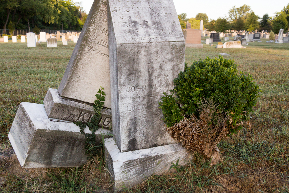 In the Congressioanl Cemetery in Washington, D.C., two tombstones lean against each other as ivy and a small bush grow nearby.