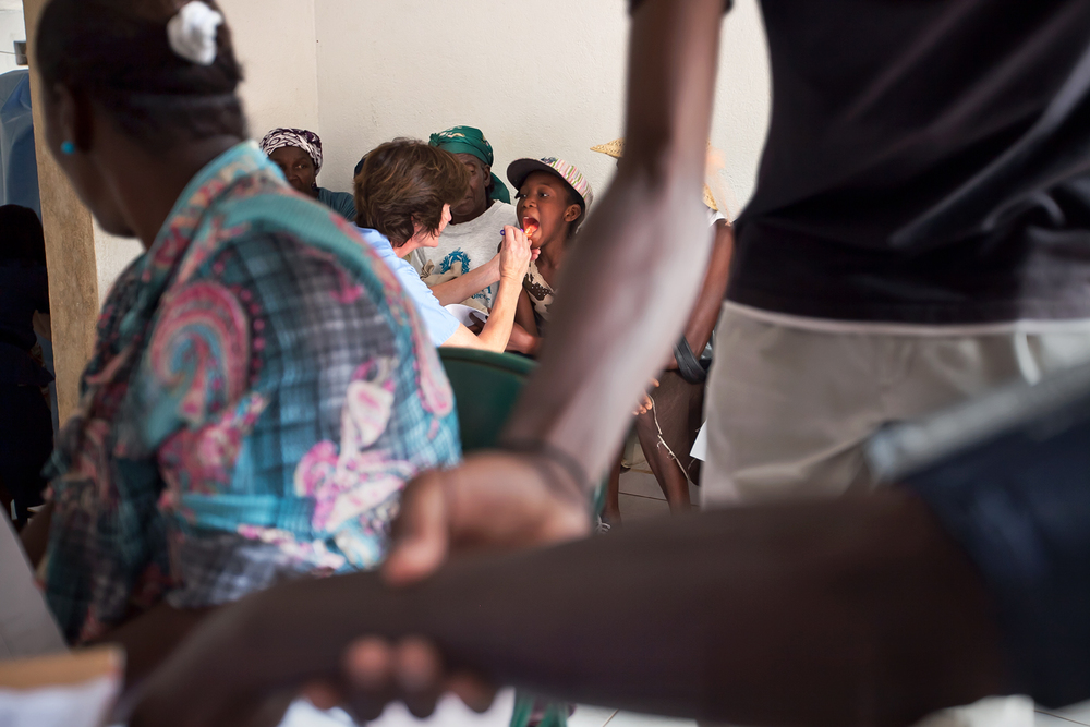 Villagers gather in the medical clinic corridor, where nurses take vital signs and perform preliminary exams before sending patients for further evaluation. Bacterial and viral infections, high blood pressure, malnutrition and arthritis are some of the most common ailments treated at the clinic.