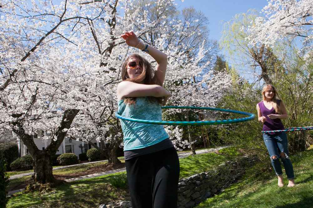 Hula hoop around cherry blossoms in Kenwood