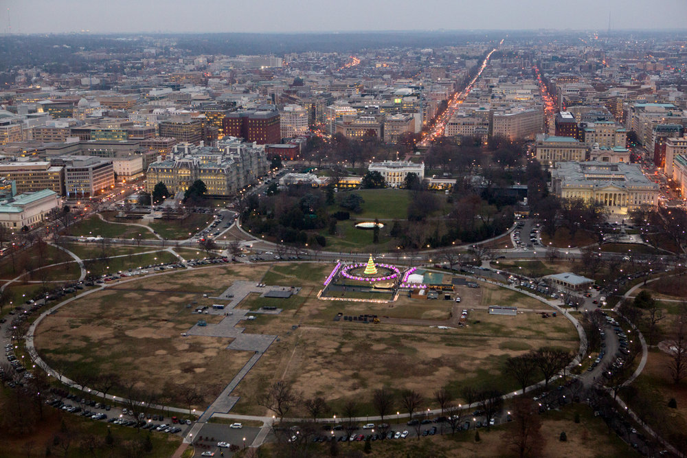 A view of The Ellipse and The National Christmas Tree