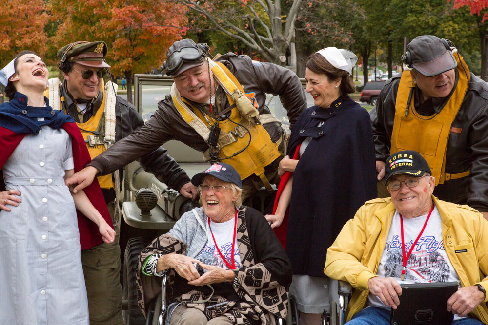 Honor Flight gathering at the World War II Memorial