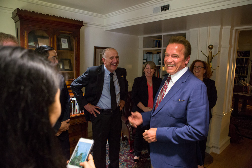 Arnold Schwarzenegger interacts with military and government members in Washington, D.C. during  National Geographic Channel 's production of  Years of Living Dangerously .