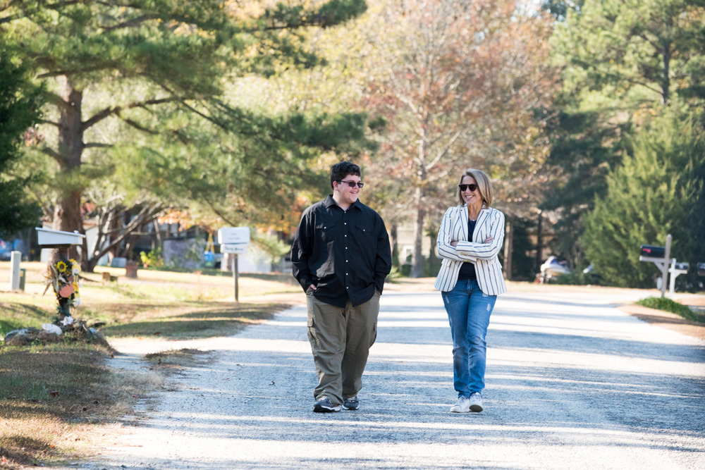 Katie Couric and Gavin Grimm, a transgender teen, walk and chat during  National Geographic Channel 's production of  Gender Revolution: A Journey with Katie Couric .