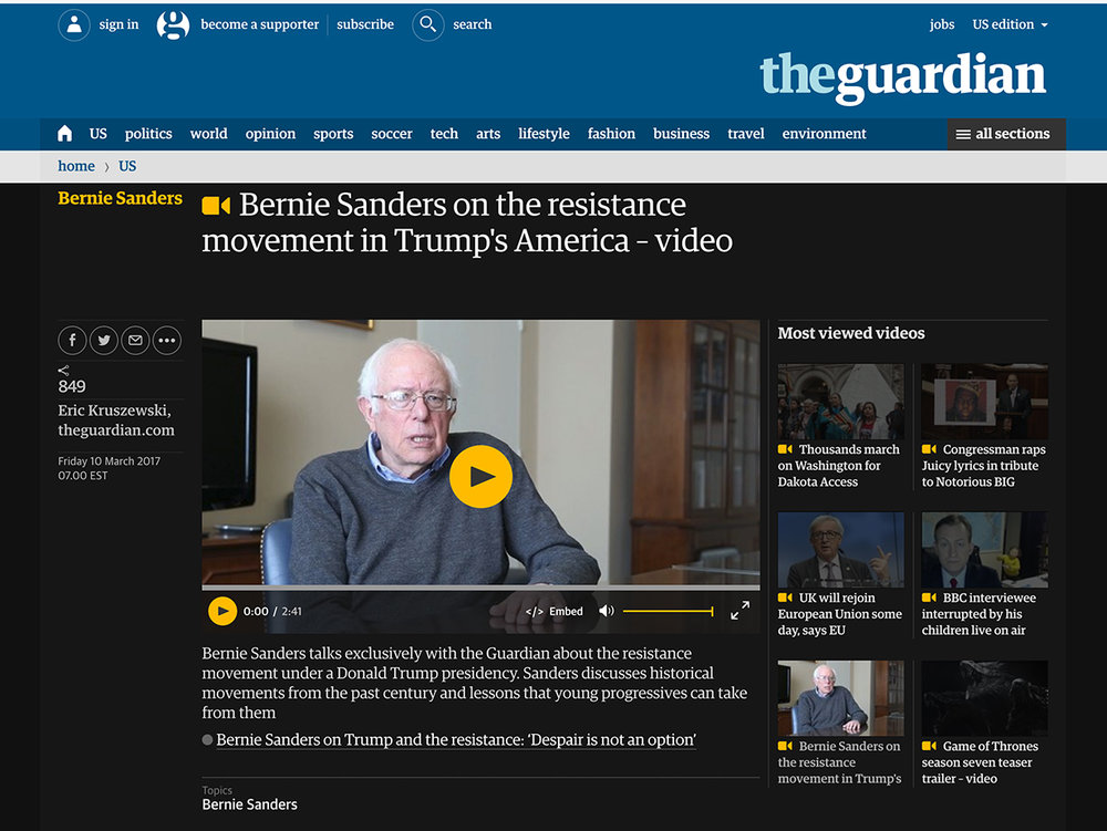 Senator Bernie Sanders for The Guardian