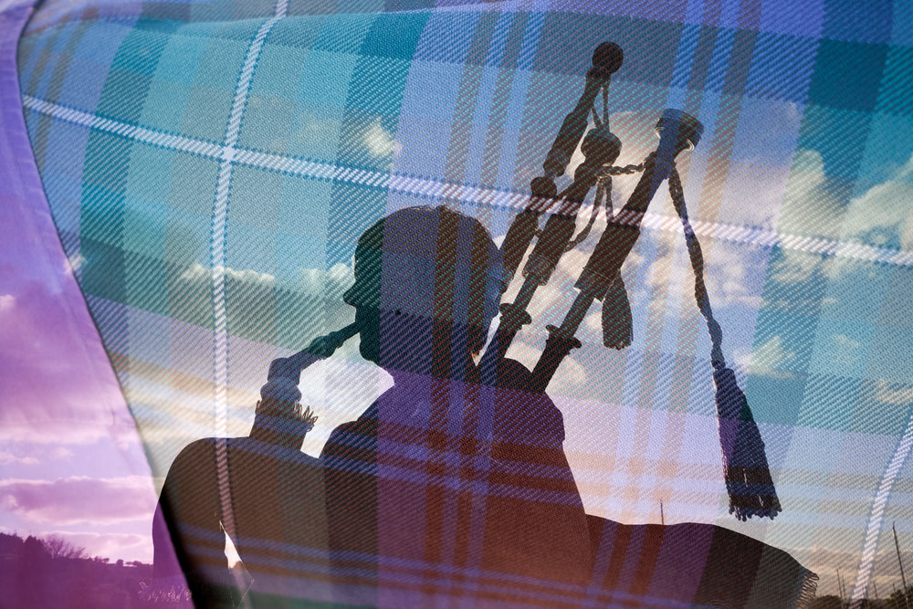 On our first day aboard Lord of the Glens, a bagpiper greeted us with amazing song. Here is a double exposure image of the bagpiper and her traditional tartan.