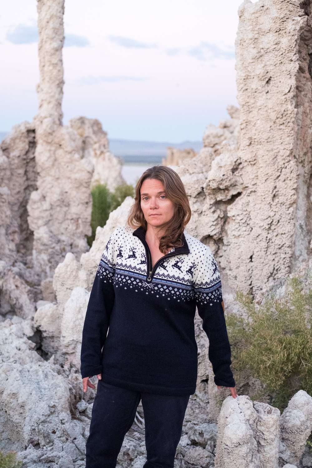 A portrait of Erika Larsen, a National Geographic Photographer, at Mono Lake.