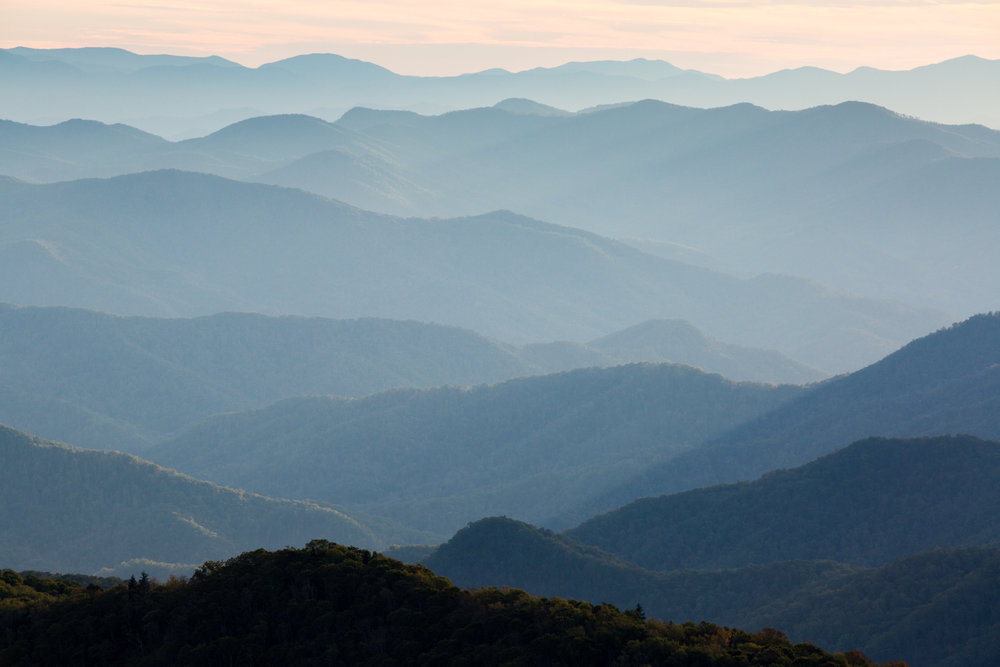 Landscape Travel Photography Sunset Blue Ridge Mountains North Carolina