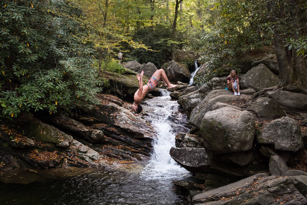 Travel photography Skinny Dip Falls Blue Ridge Parkway North Carolina Mountains waterfall