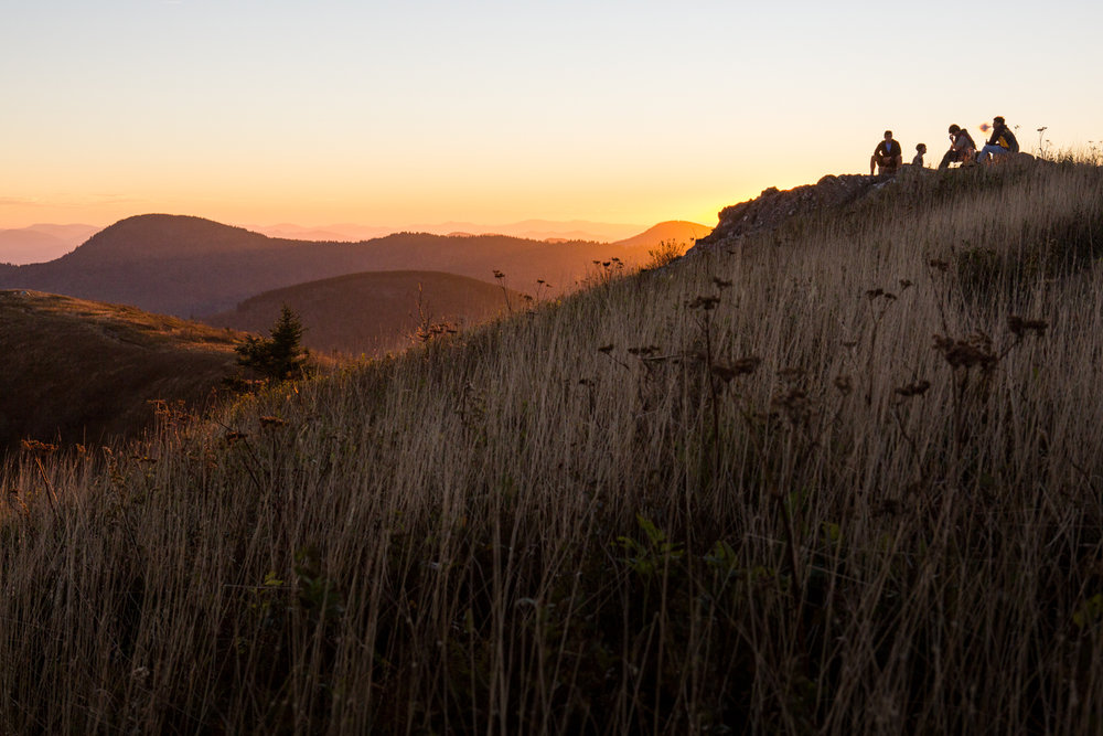 Travel photography landscape Blue Ridge Mountains hiking sunset North Carolina