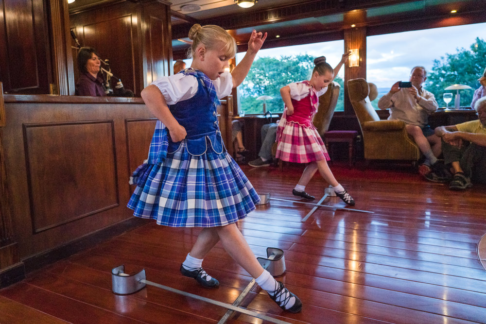In Inverness, Scotland, Junior Highland Dancers perform for guests on Lord of the Glens.
