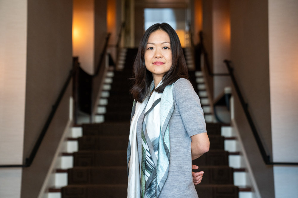 Yoko K. Sen poses for a portrait in Washington, D.C.'s Halcyon House.