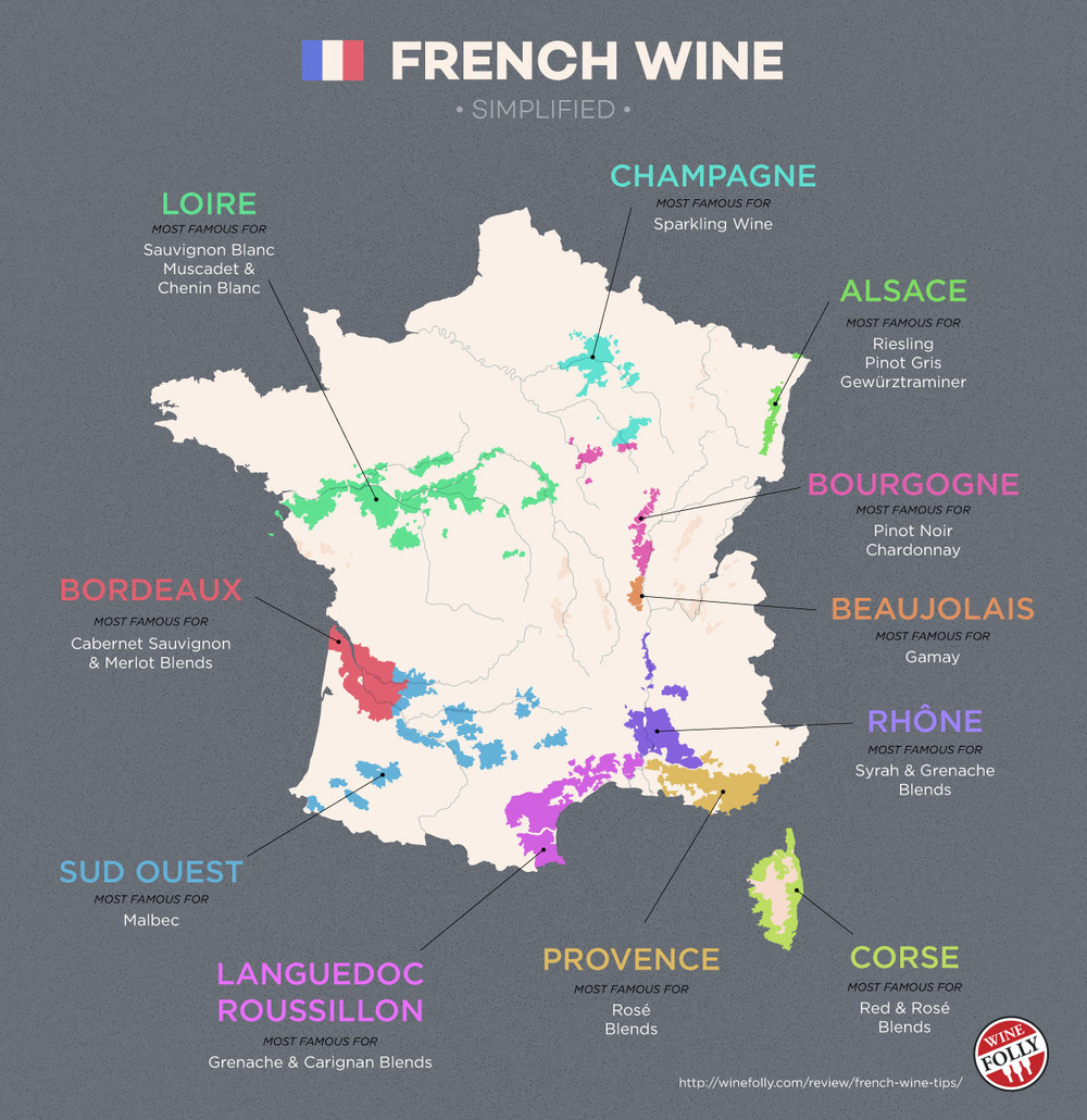 Bordeaux is located in Western France while the Rhone Valley is located in the Southeast. Check out winefolly.com for this map and a bunch of other great information.