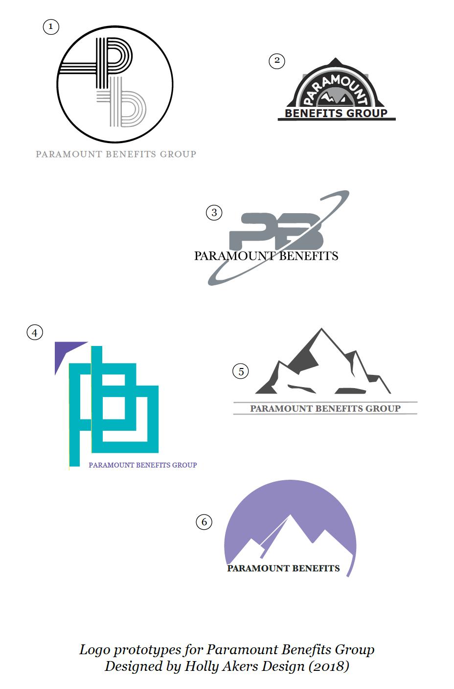 Paramount Benefits logo prototypes