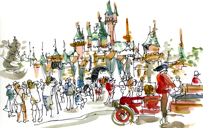 disneyland ,   CALIFORNIA,  watercolor, pen & ink