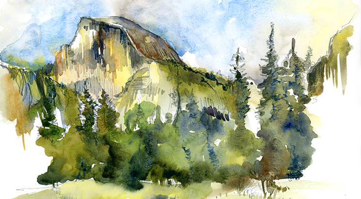 HALF DOME AT YOSEMITE ,   CALIFORNIA,  watercolor, COLORED PENCIL