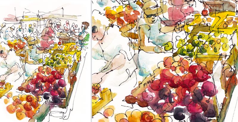 FARMER'S MARKET ,  CALIFORNIA, watercolor, pen & ink